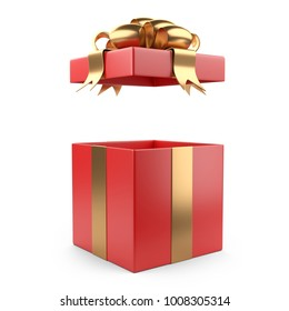 Open red gift christmas box blank with gold bow. Isolated on a white background 3d illustration.