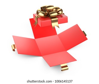 Open red gift christmas cardboard box blank with gold bow. Isolated on a white background 3d illustration