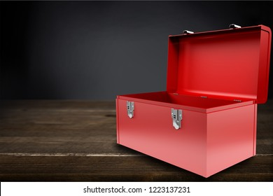 Open red isolated toolbox