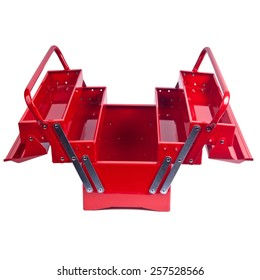 Open Red metal toolbox isolated on white