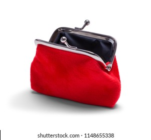 Open Red Velvet Coin Purse Isolated on White.