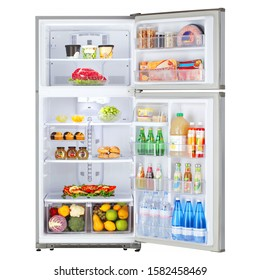 Open Refrigerator with Food Isolated on White. Front View of Stainless Steel Top Mount Fridge Freezer. Electric Kitchen and  Domestic Major Appliances. Two Door Top-Freezer Fridge Freezer