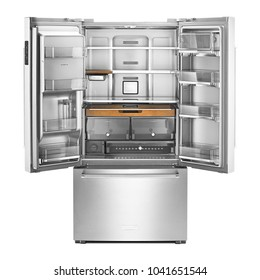 Open Refrigerator Isolated on White Background. Front View of Stainless Steel Fridge Freezer. Empty Counter-Depth French Door Refrigerator. Electric Appliances. Kitchen Appliances. Domestic Appliances