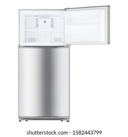 Open Refrigerator Isolated on White Background. Top Mount Fridge Freezer. Electric Kitchen and  Domestic Major Appliances. Front View of Stainless Steel Two Door Top-Freezer Fridge Freezer