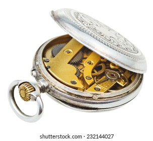 open retro silver pocket watch isolated on white background