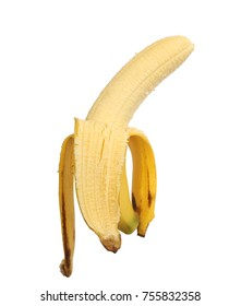 Open ripe banana isolated on white background