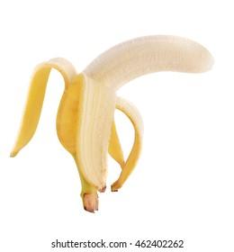 Open Ripe Banana On White Background