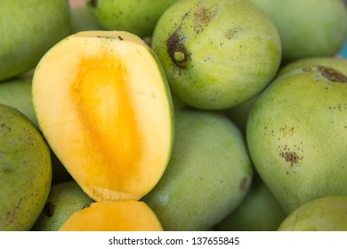 Open ripe mango fruit