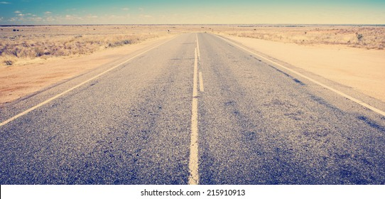 Open road ahead, endless road for concept with Instagram style filter