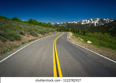 Open road and double yellow line near Sonora Pass - Highway 108