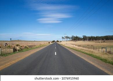Open road on the Tasman Highway heading north on the East Coast of Tasmania.