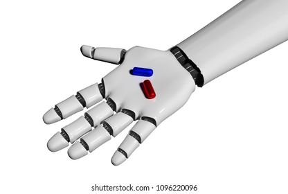 open robot hand holding pills on white. 3d rendering