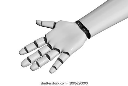 open robot hand on white. 3d rendering