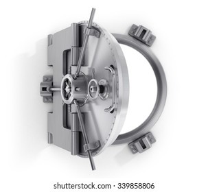 Open round door of  bank isolated on a white.