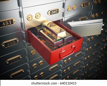 Open safe deposit box with  golden ingots. Financial banking investment concept. 3d illustration