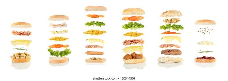 open sandwich, floating sandwich, six different sandwiches floating, sadwiches poster