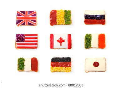 Open sandwich looking like national flags of USA, Canada, Great Britain, Guinea, Ireland, Germany, Russia, Italy, Japan
