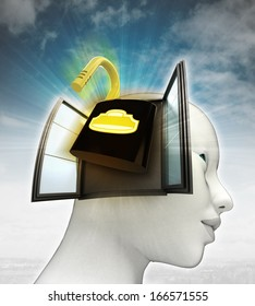 open security padlock coming out or in human head with sky background illustration