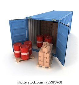 Open Shipping Container with Cargo on a White (3d illustration)