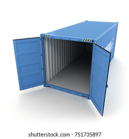 Open Shipping Container on a White (3d illustration)