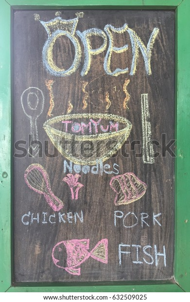 OPEN. Shop signs with shops and services. We have raw materials to make delicious food.