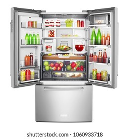 Open Side by Side Refrigerator with Food Isolated. Front View of Stainless Steel Counter-Depth French Door Fridge Freezer Full of Fresh Fruits and Vegetables. Domestic and Kitchen Appliances