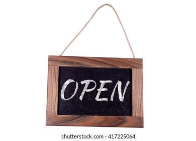 Open. A sign on the door.