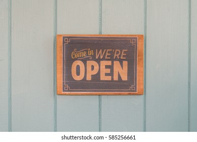 Open sign on the door of the vintage rastaurant