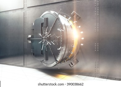 Open silver bank vault with golden light peeking from inside, 3D Render