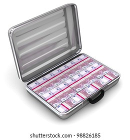 open silver grey briefcase on white ground filled with 500 Euro notes - angular view