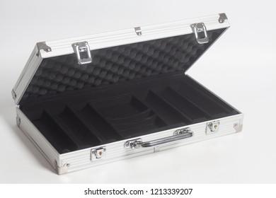 Open Silver Suitcase