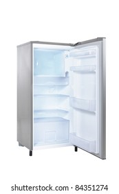 open single door fridge isolated on white background