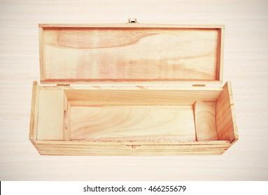 Open single wooden wine box. Instagram-like filter applied