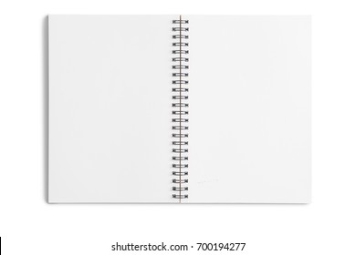 Open sketch notebook isolated on white background.With clipping path and no shadow.
