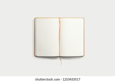 Open Sketchbook isolated on white background.High resolution photo.
