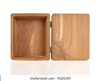 Open small cedar box with hinged lid