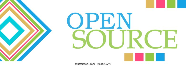 Open source text written over colorful background.