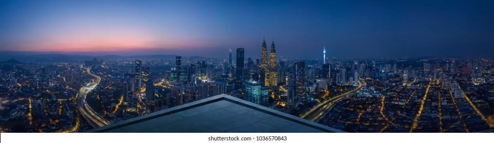 Open space balcony with Kuala Lumpur cityscape skyline view  . Night scene . - Shutterstock ID 1036570843