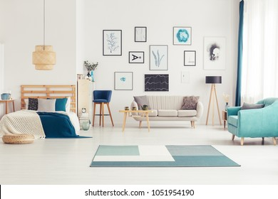Open space, blue bedroom interior with art collection, sofas and wooden lamp
