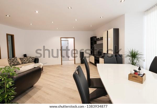 Open Space Living Room Kitchen New Buildings Landmarks Stock Image 1383934877