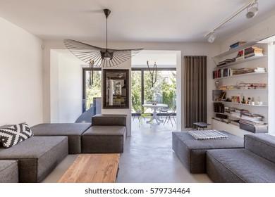 Open space of a modern living room overlooking veranda