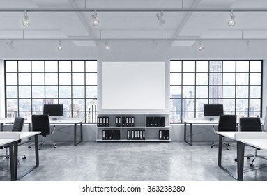 Open space office, big windows with New York view, tables with computers, office chairs, shelves with folders, lamps on the ceiling, big white board between windows. Front view. Concept of work