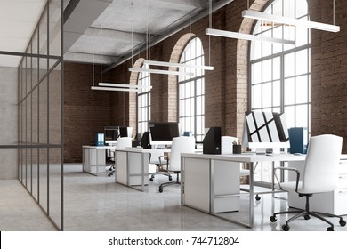 Commercial indoor lighting images stock photos vectors shutterstock open space office interior with brick and glass walls a concrete floor and big windows aloadofball Gallery