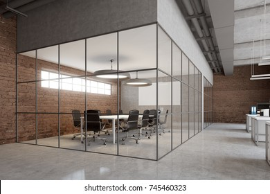 Open space office interior with brick and glass walls, a concrete floor and big windows. A row of computer desks, desktops with blank screens. Corner 3d rendering mock up