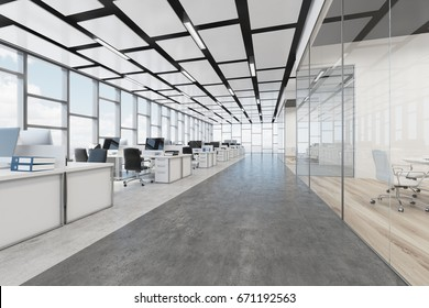Open space office interior with a concrete floor, a glass wall, a rectangular ceiling pattern and panoramic windows. Computers on desks. 3d rendering mock up