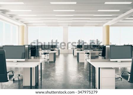 foto stock de open space office loft style hangar editar agora 347975279 shutterstock. Black Bedroom Furniture Sets. Home Design Ideas