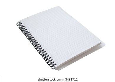 An open spiral bound notebook, with a detailed clipping path including the inner areas of the spiral rings.