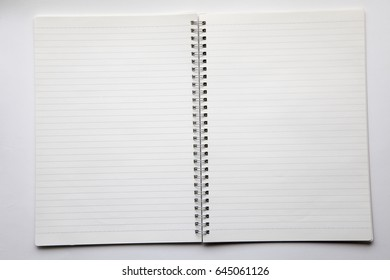 open spiral bound notebook isolated on white background