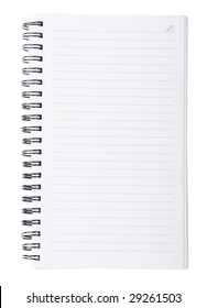 Open spiral lined notebook isolated on white background