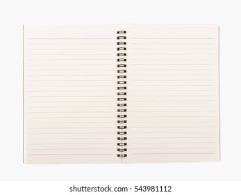 Open spiral note book isolated on white background.